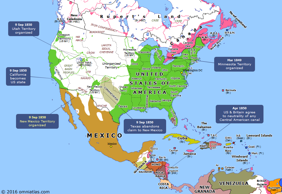 Mexico Map 1850.North America In 1850 Mexico Pinterest America North America