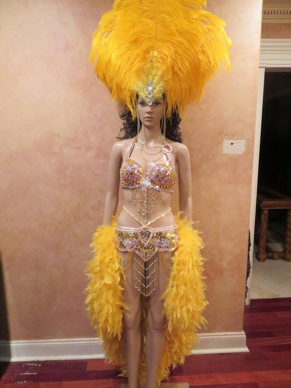 e003af22cf37 5pc Dancing w/the Stars Caribbean Carnival Costume Samba Showgirl Headdress Drag  Queen Outfit sz Med