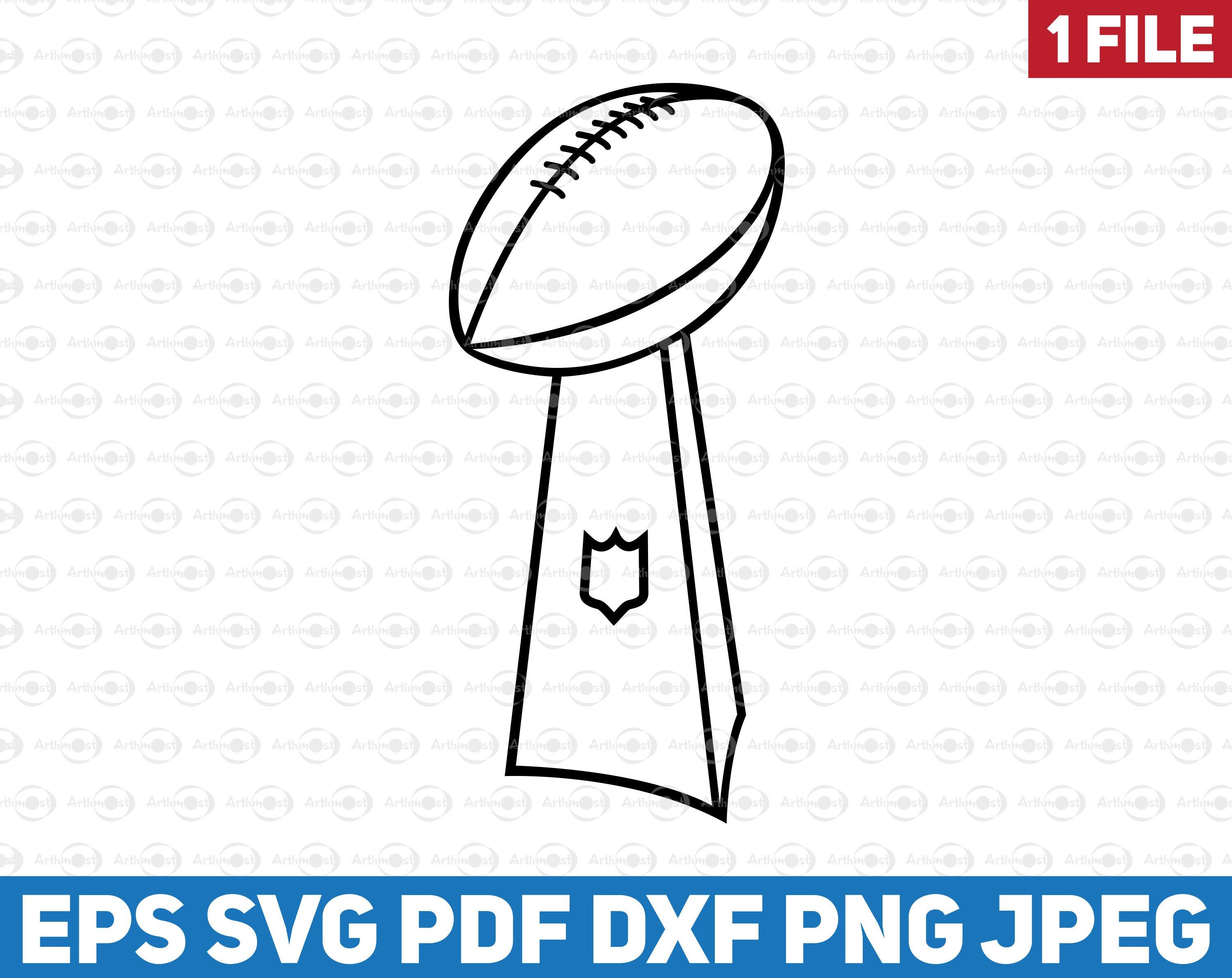 Super Bowl 2021 Contour Clipart Svg Vince Lombardi Trophy Etsy In 2021 Football Tattoo Clip Art Vince Lombardi