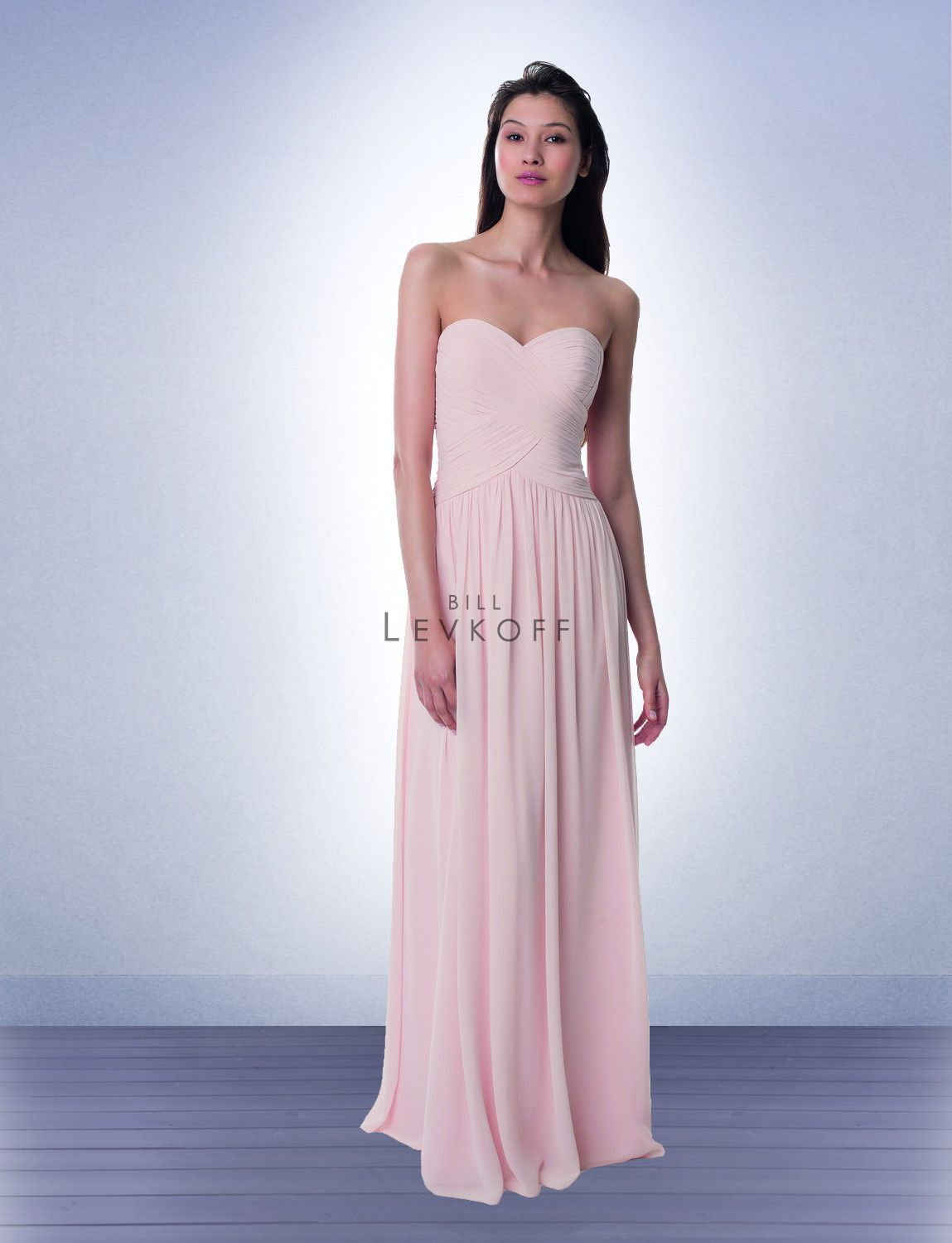 Bridesmaid Dress Style 982 Chiffon strapless gown with a