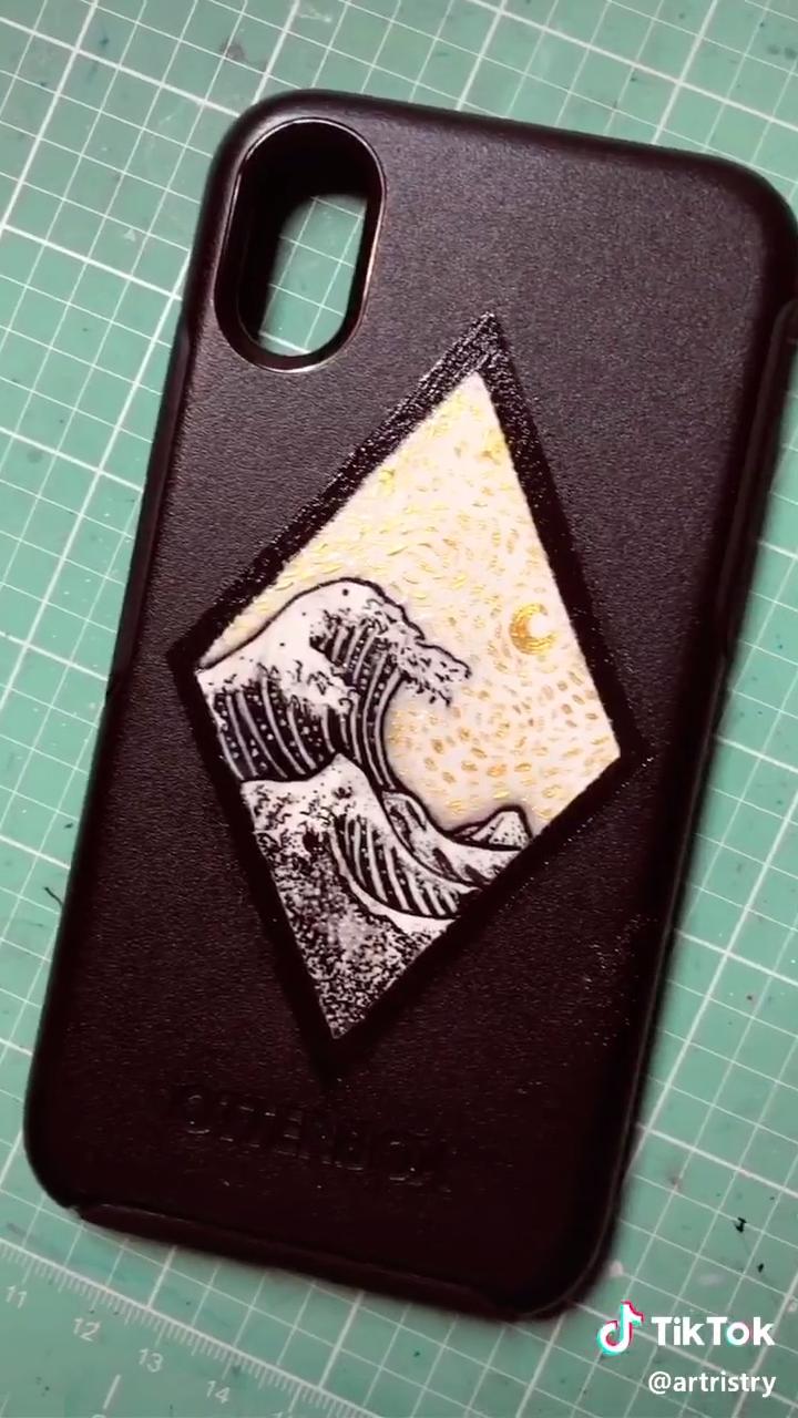 Phone Case Waves Painting Diy In 2020 Phone Case Diy Paint Diy