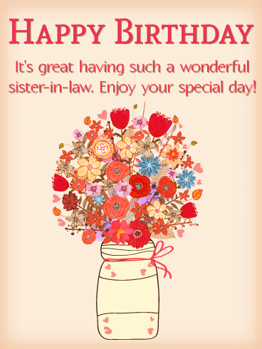 Beautiful Bouquet Happy Birthday Card For Sister In Law Birthday Greeting Cards By Davia In 2021 Birthday Wishes For Sister Happy Birthday Sweet Sister Sister In Law Birthday