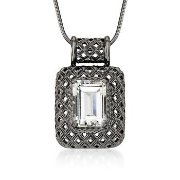 6.45 Carat White Topaz Drop Pendant Necklace In Sterling Silver
