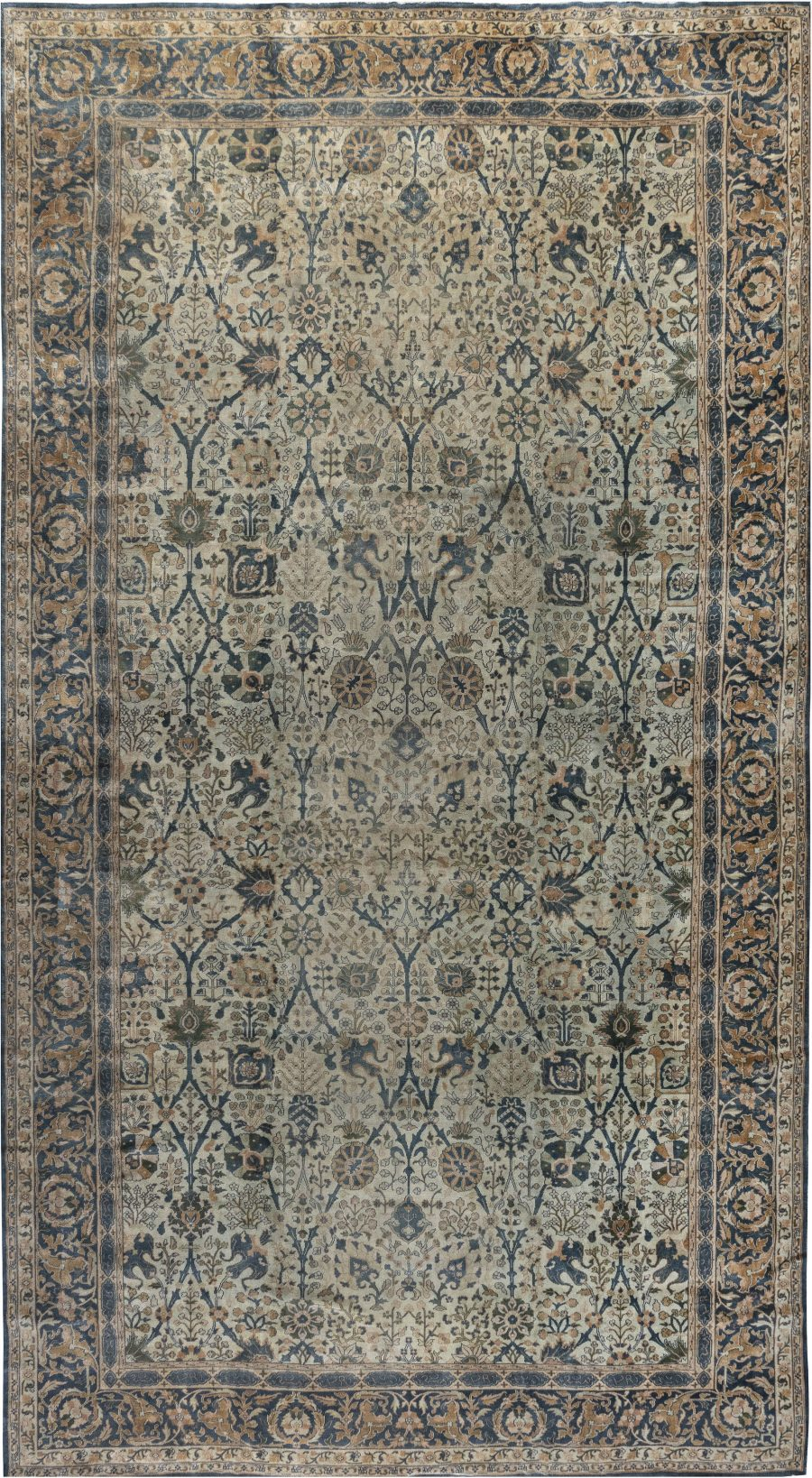 Antique Indian Blue And Beige Handwoven Wool Rug Bb7243 By Dlb In 2020 Indian Rugs Antique Indian Rug Antique Rugs