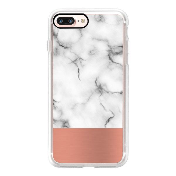Marble & copper - iPhone 7 Case, iPhone 7 Plus Case, iPhone 7 Cover,... ($40) ❤ liked on Polyvore featuring accessories, tech accessories, iphone case, apple iphone case, iphone hard case, iphone cover case and iphone cases