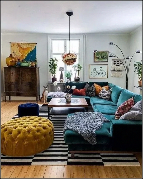 73 Eclectic Living Room Decor Ideas: Zoom On Patterned Plants In 2020