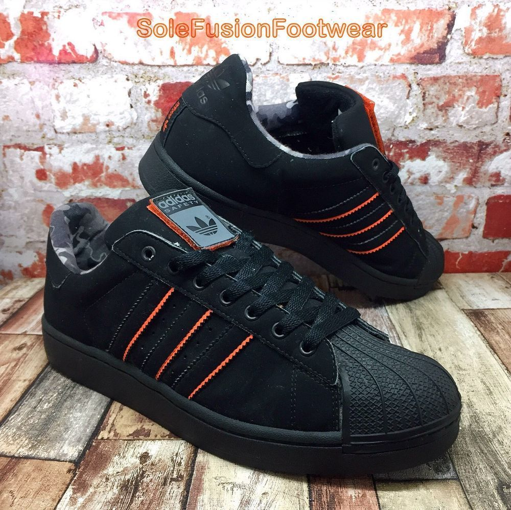 adidas Mens Superstar SAFETY Trainers Black size 8 Rare