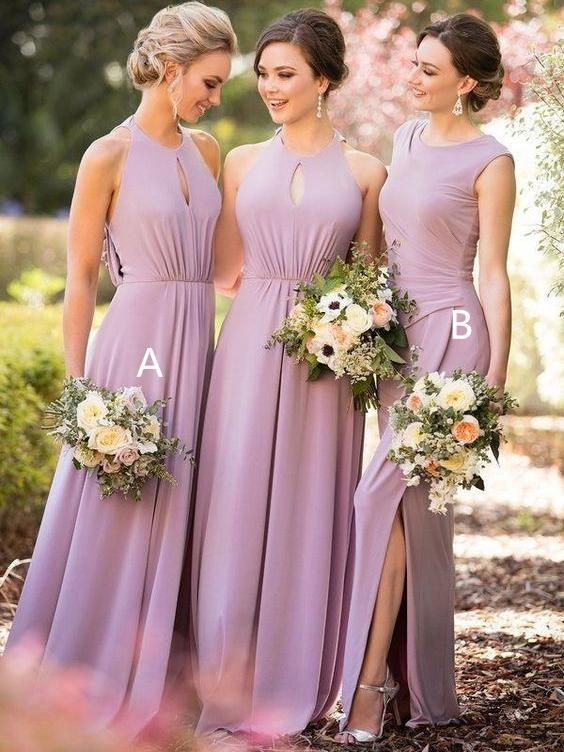 6b057138e80d Plus size modest lilac mother of the bride dresses. Long mismatched  bridesmaid dress with slit. This dress can be customized in any color and  size.