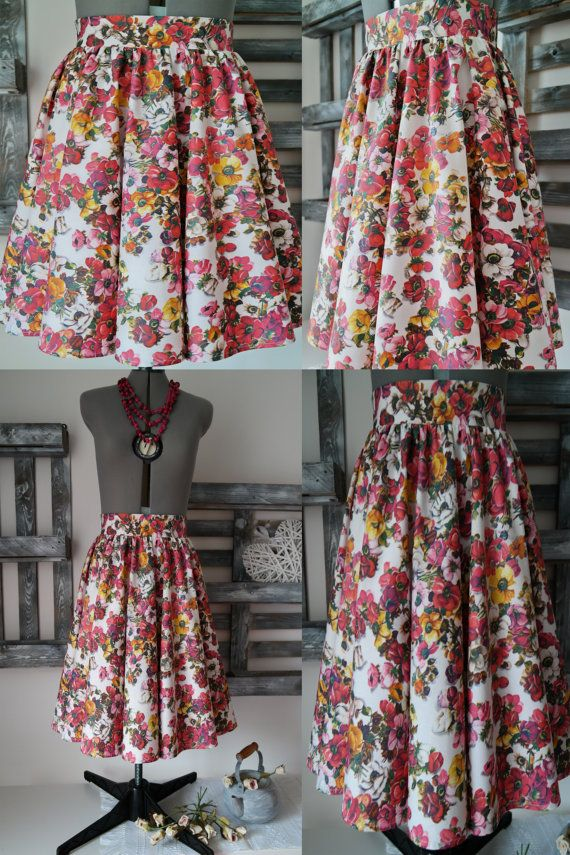 Knee length cotton skirt woman with flowers in full 50 years life ... f60f45b387b