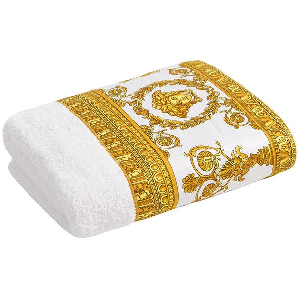 Versace Barocco Robe Towel White Gold Face Towel 92