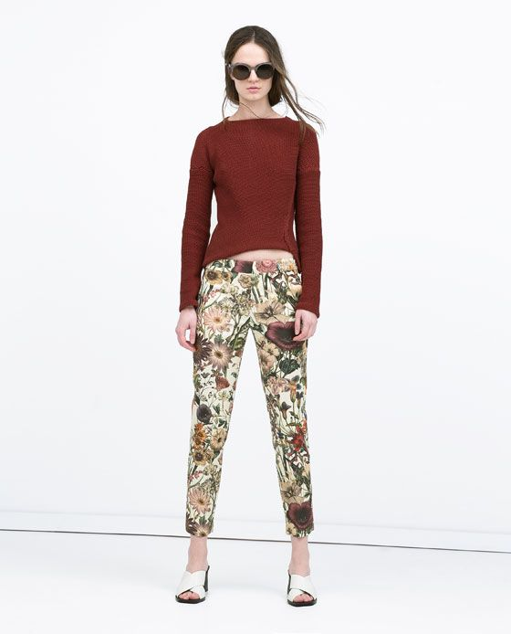 3a583360 Image 1 of FLORAL PRINT TROUSERS from Zara | work it. | Printed ...