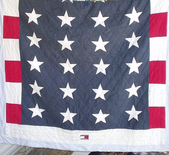 a4366c511b Vintage Cotton Patchwork Quilt Tommy Hilfiger Old Glory Stars and Stripes  Red White Blue Flag Patriotic Bedding Twin Quilt on Etsy, $19.90