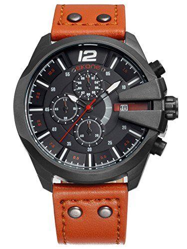 Skone Herren Schwarz Brown Sport Outdoor Chronograph Leuchtzeiger coole Militär Design Quarzuhr Analog Anzeiger Armbanduhr - http://uhr.haus/findtime/skone-herren-schwarz-brown-sport-outdoor-coole-2