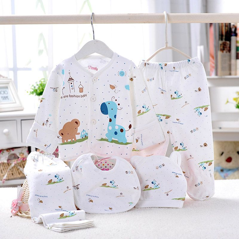 bf9235d9357c Click to Buy    5pcs set Newborn Gift Baby Clothing Set For 0-6M ...