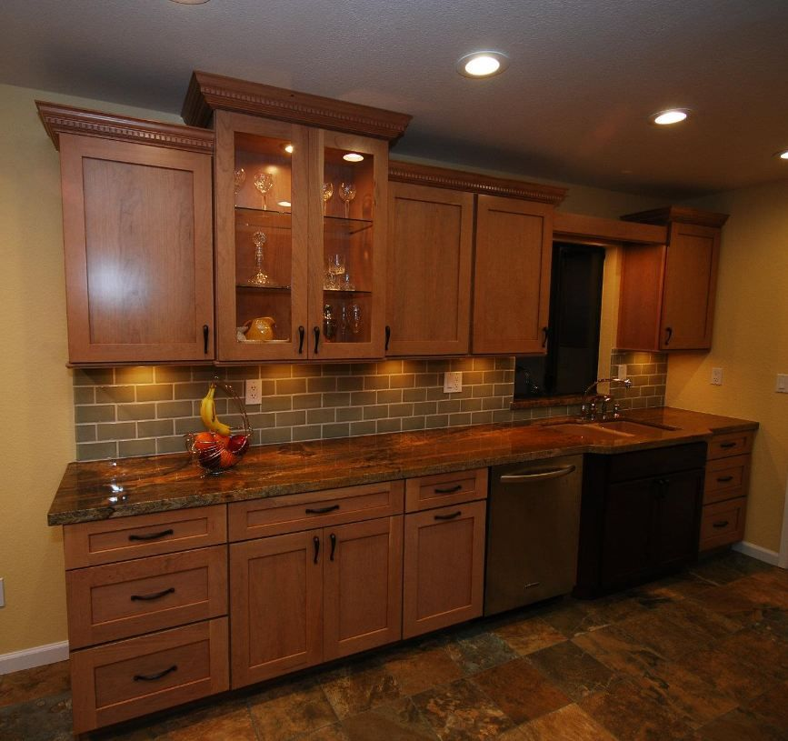Cardell cherry cabinets with bone finish | Kitchen ...