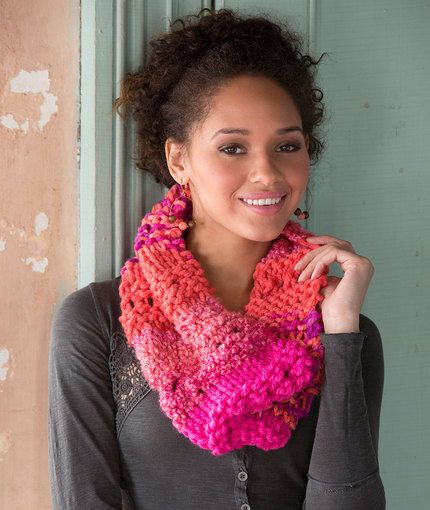 Multi Textured Cowl Free Knitting Pattern In Red Heart Yarns New