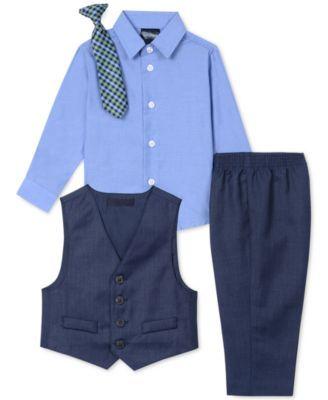 3b83d192c Nautica Baby Boys 4-Pc. Vest, Shirt, Pants & Tie Set - Blue 12M in ...