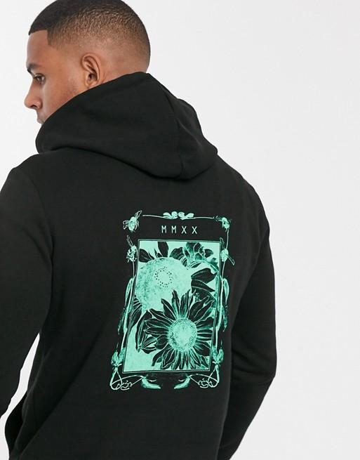 Asos Design Hoodie With Floral Back Print In Black Hoodie Design Hoodies Asos Designs