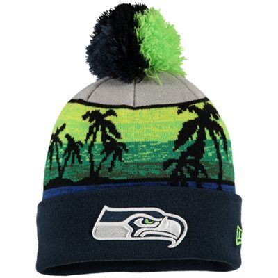 new concept 541f2 469fd Men s New Era College Navy Seattle Seahawks Winter Beachin Cuffed Knit Hat