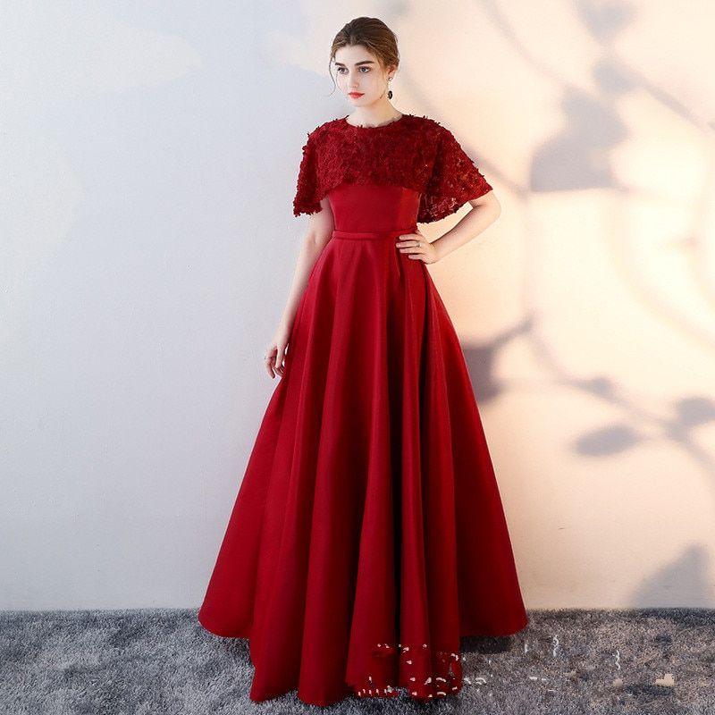 c3a40bf815619 2018 Red O Neck Evening Dresses Lace Flower Fashion Designer Satin ...