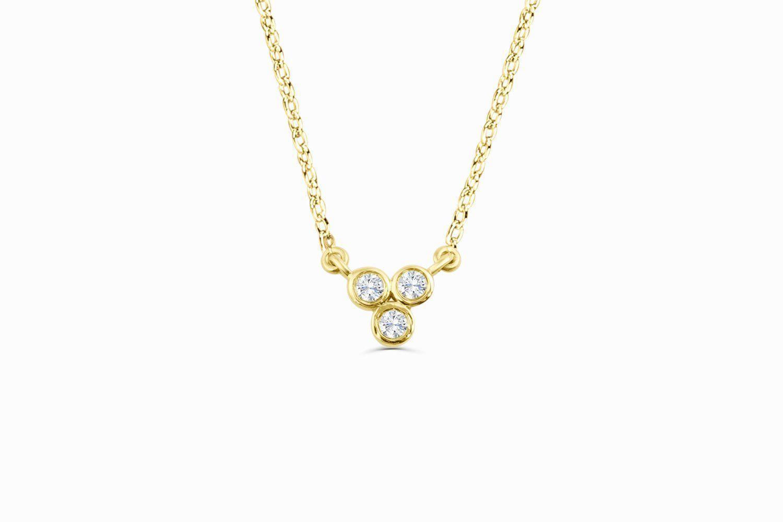 K bezel set trio diamond necklace posh necklaces pinterest