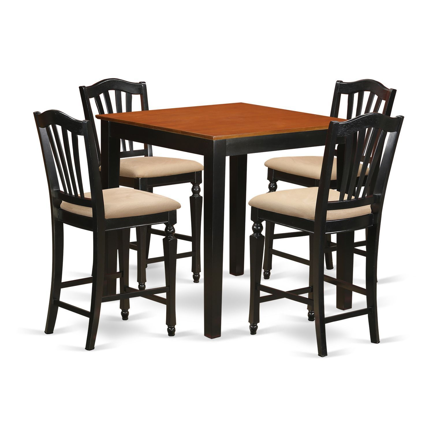 Black Solid Rubberwood 5 Piece Counter Height Pub Set (