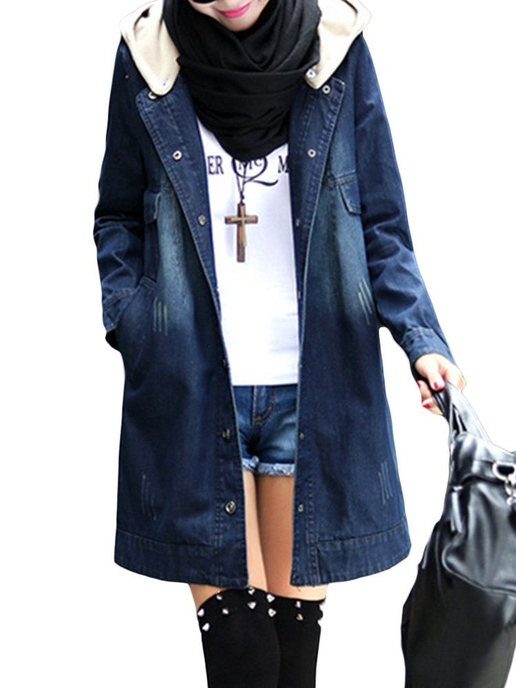 bf4f54c0f2b8b8 Denim Patchwork Hooded Long Sleeve Coat | Products in 2019 | Long ...