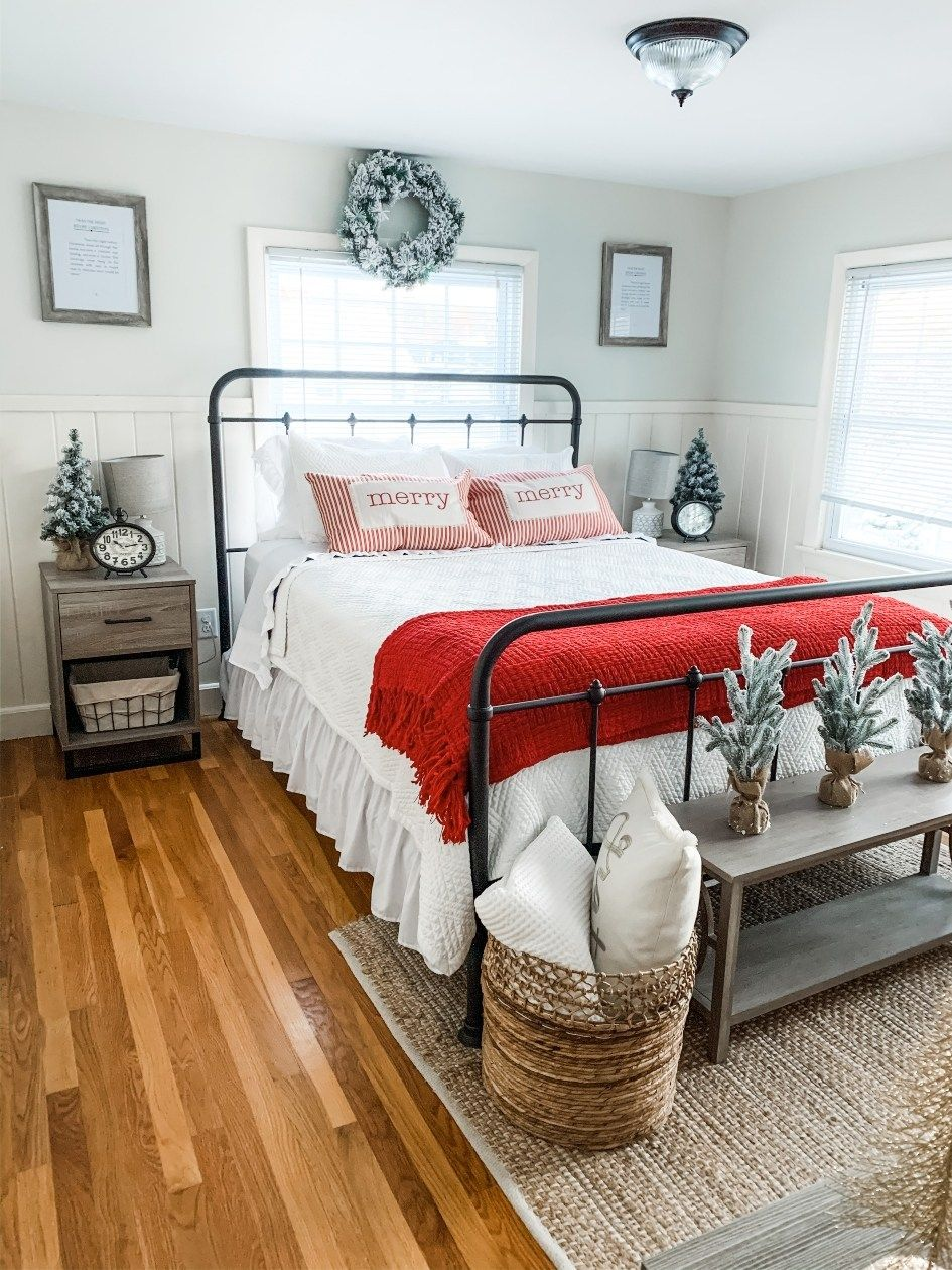 Bright and Cozy Farmhouse Christmas Bedroom Tour