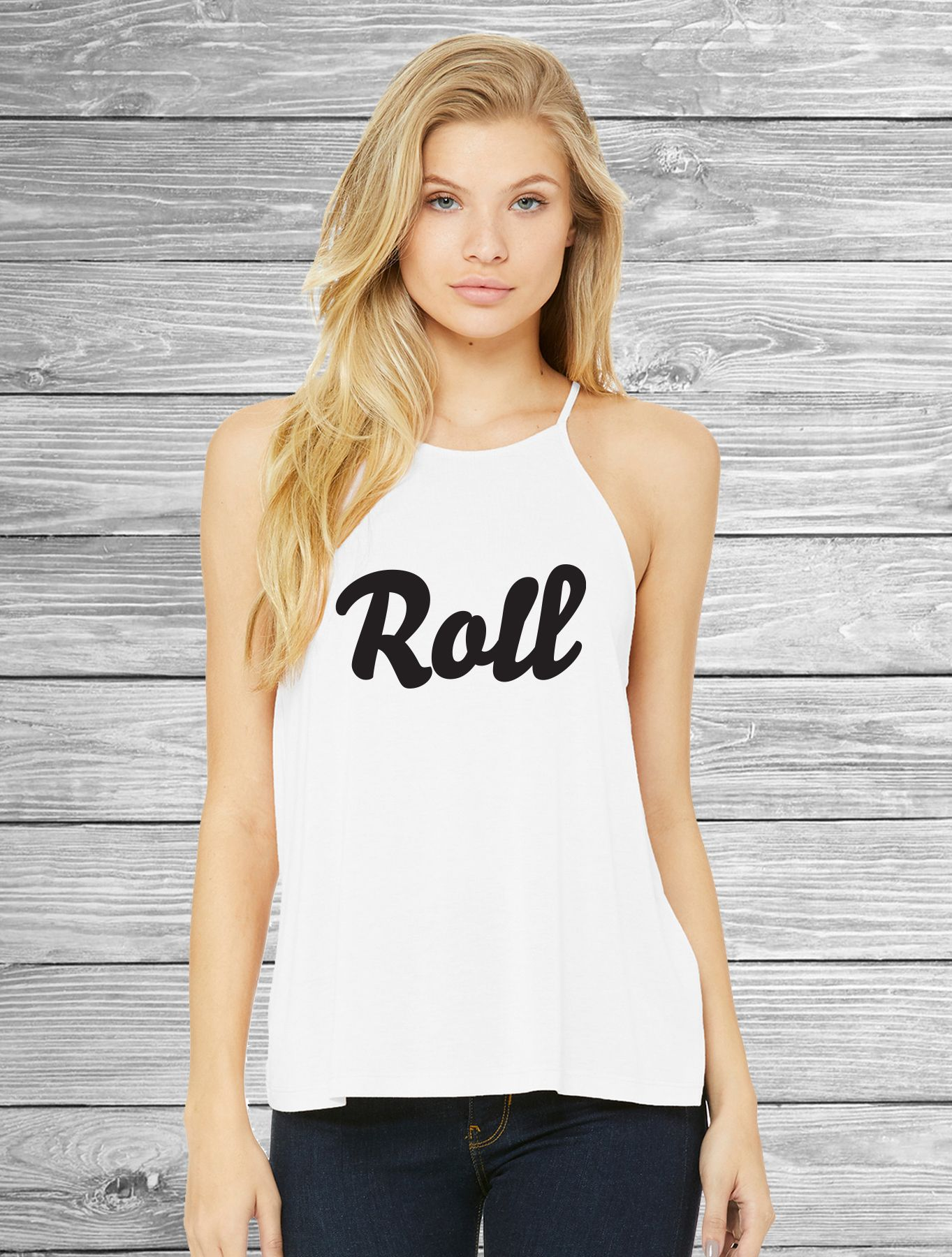 50b3a2e41a090 Roll Black White Women s Flowy High Neck Tank