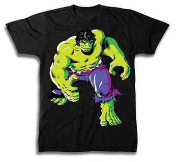 The Incredible Hulk Angry Walk Purple Pants Adult Black T-Shirt by TVStoreOnline - Teenormous.com