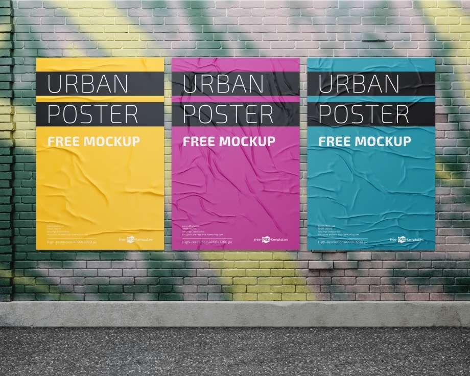 3 Urban Posters In Wall Free Mockups Poster Mockup Psd Poster Mockup Poster Mockup Free