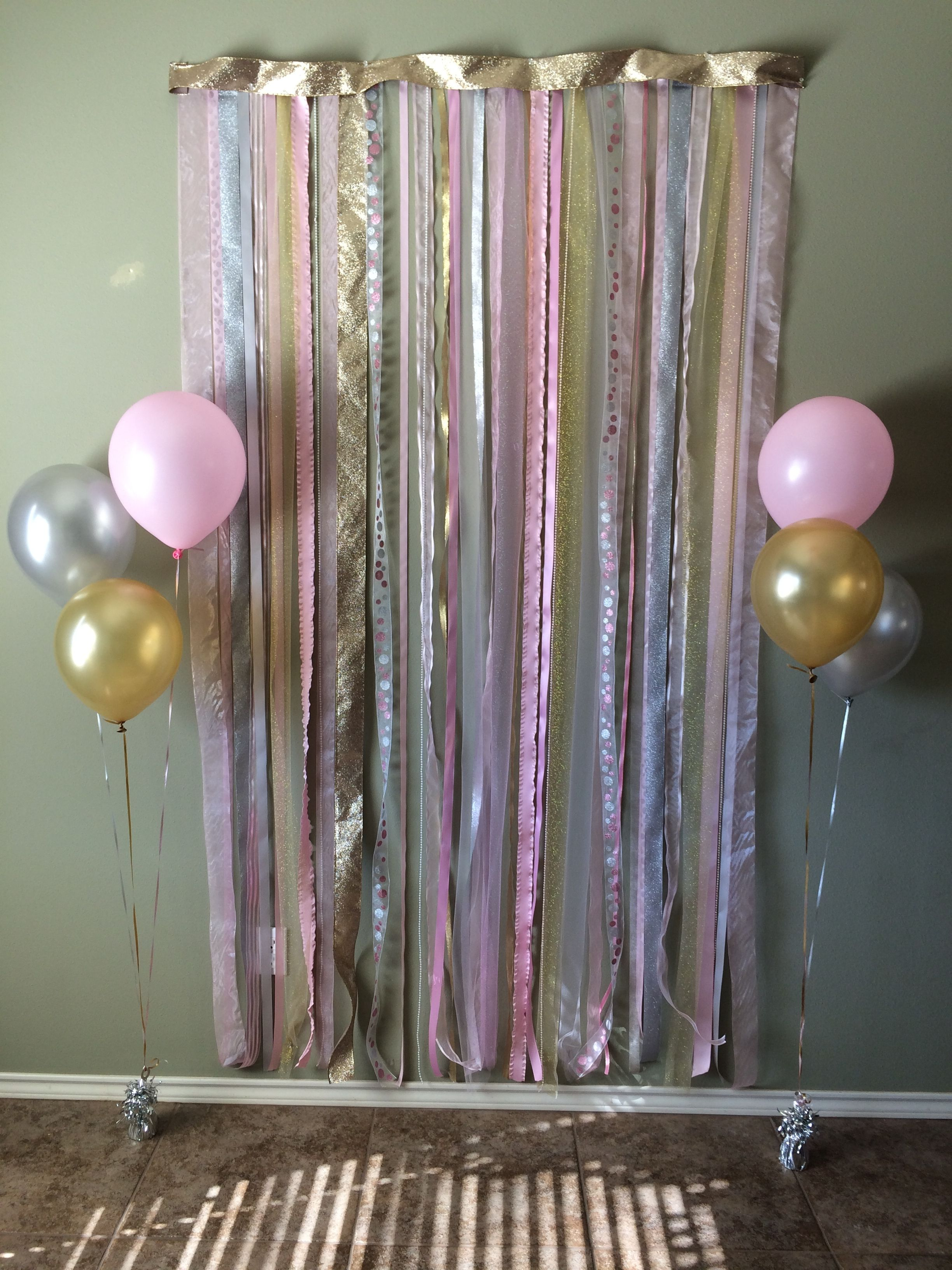 Pink Gold And Silver Photo Backdrop For 1st Birthday Party Gold