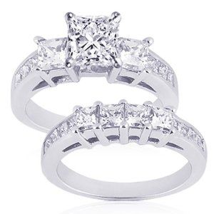 3 Ct Princess Cut Diamond 3 Stone Wedding Rings Set 14k My