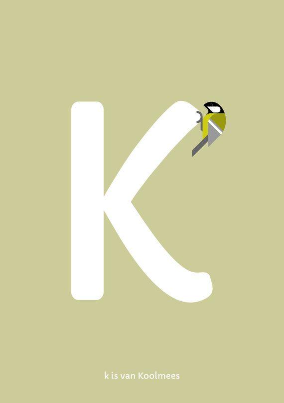 Koolmees print. Nederlands Vogel Alfabet print: K is van door Guuske
