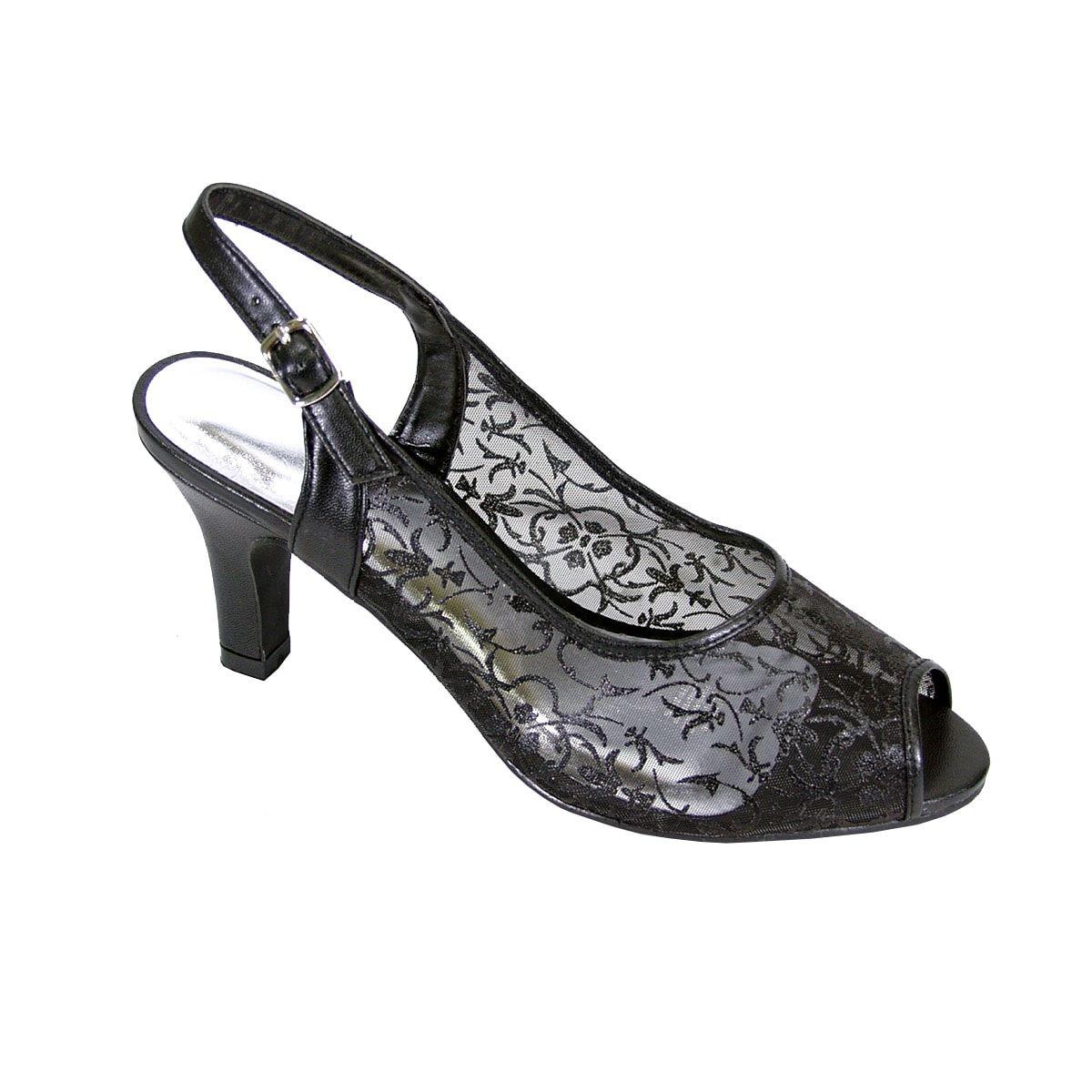 d23fd0493b8 FIC Floral Ashley Women Extra Wide Width Peep Toe Heel (8.5 Extra Wide -  Black)