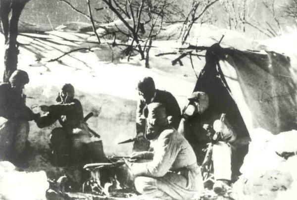 Chinese Troops Charge A Hill in the Chosin Reservoir