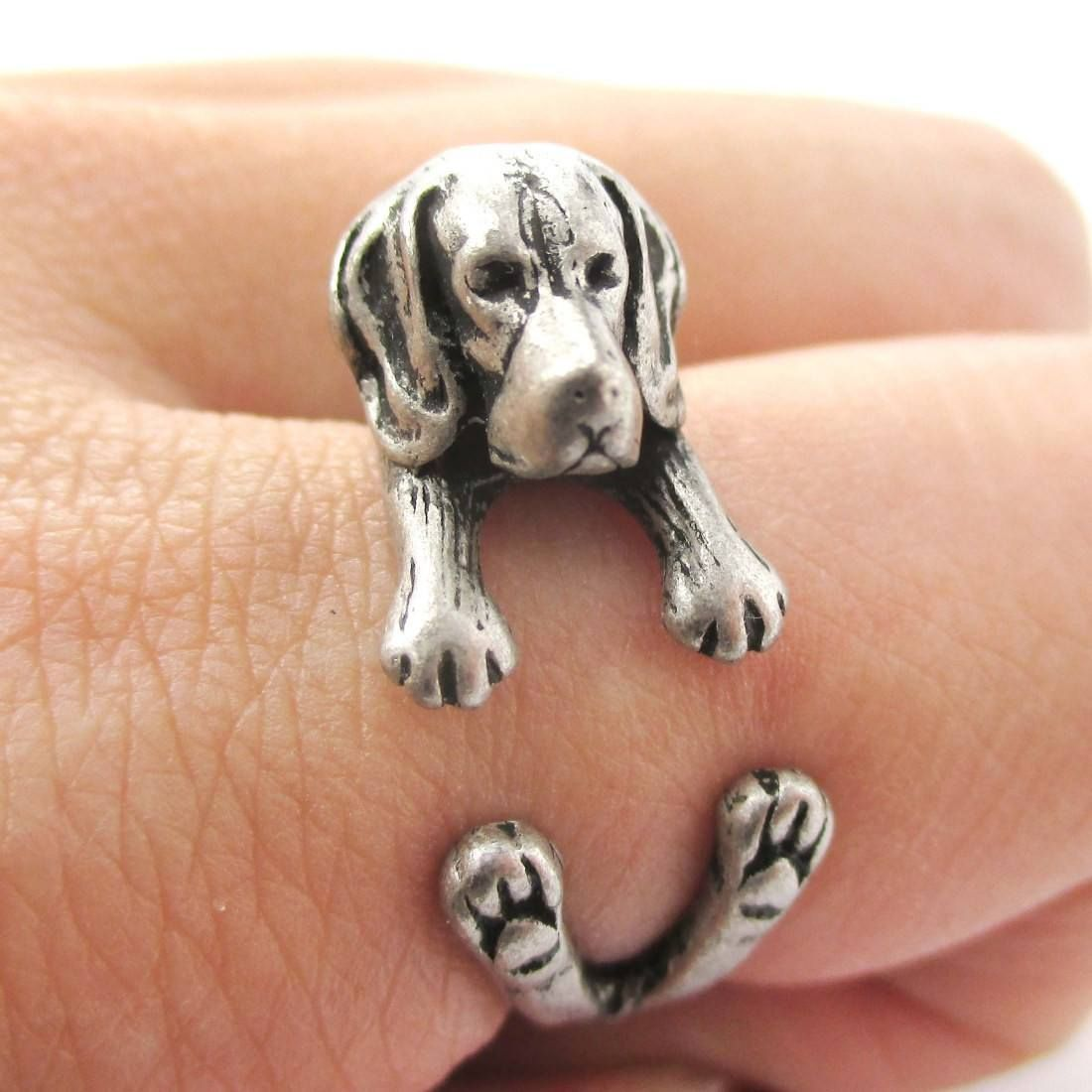 Realistic Beagle Puppy Shaped Animal Wrap Ring In Silver Sizes