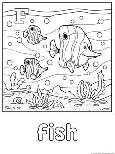Animal Alphabet Coloring Printables A F Ocean Theme Pinterest - F-is-for-fish-coloring-page