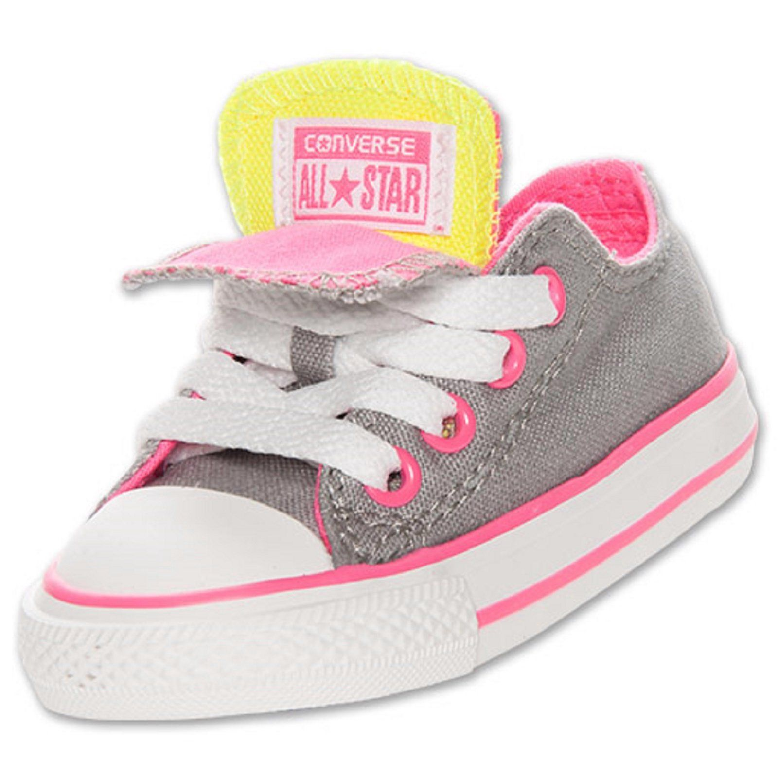 b40509fcb187 Baby Girls Shoes Converse Chuck Taylor Double Tongue Ox Toddler Sizes Grey  Pink
