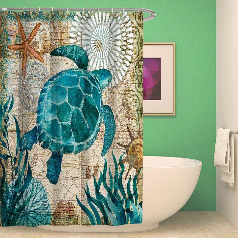 Polyester Waterproof Shower Curtain Seahorse Turtle Bathroom
