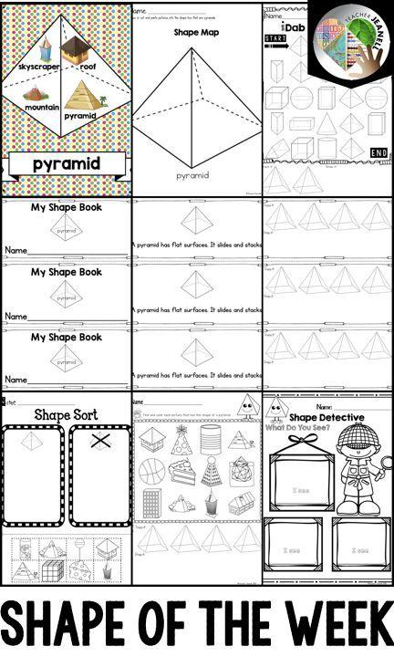 3d Shape Pyramid Shapes Worksheet Kindergarten Shapes Kindergarten 3d Shapes Kindergarten