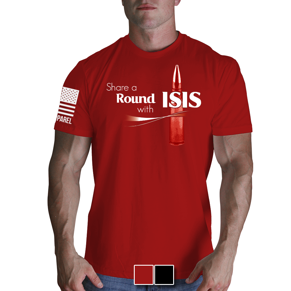 Black t shirt red collar - Share A Round With Isis Black T Shirt Nine Line Military Men S Graphic Tee Shirt