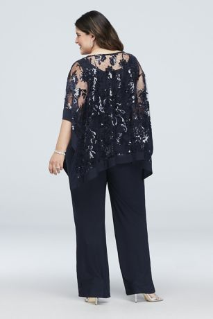 d92a128a2ac Sequin Lace Plus Size Pantsuit with Sheer Poncho Style 2288W