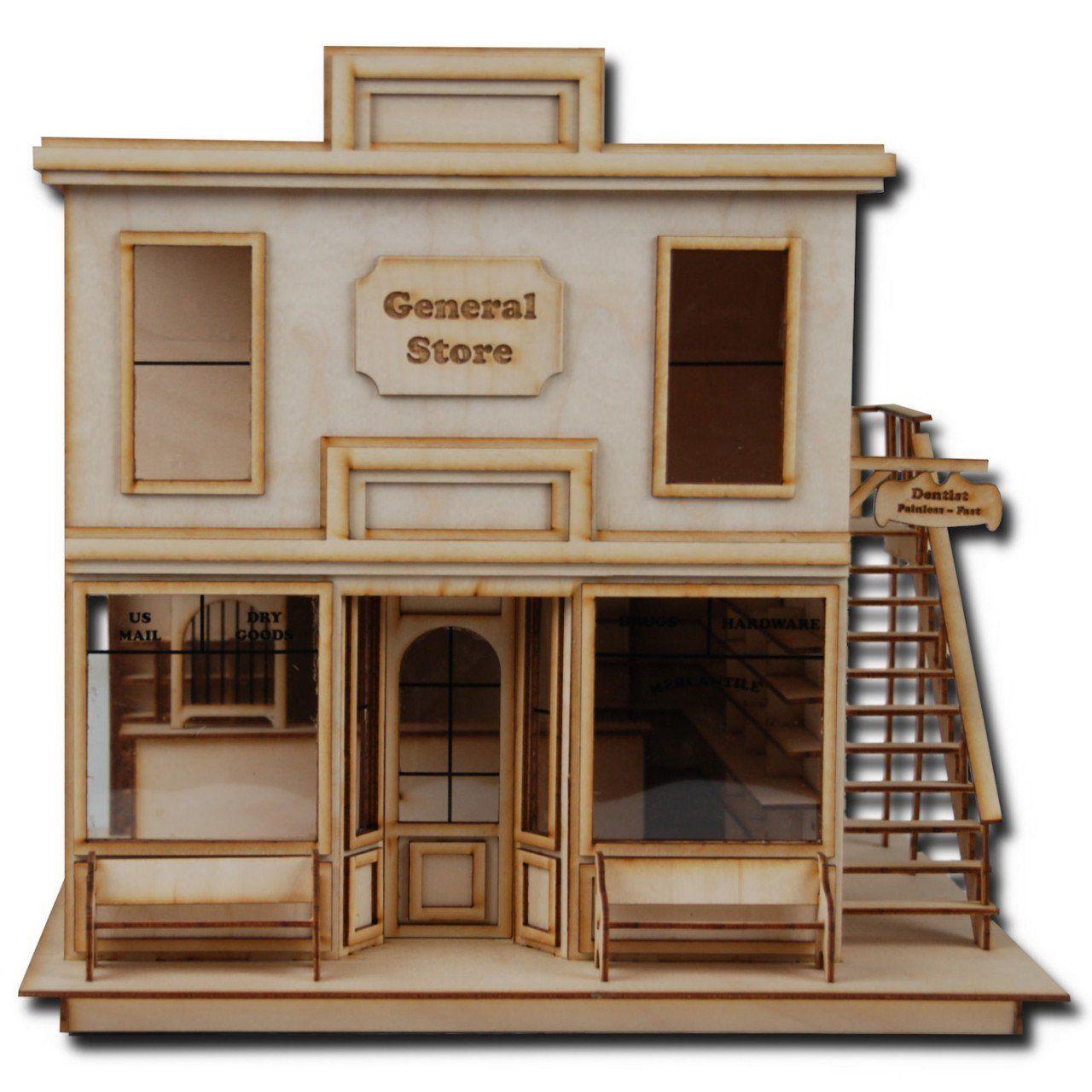 "1/2"" Scale Dollhouse Kit Laser Cut Taft General Store"