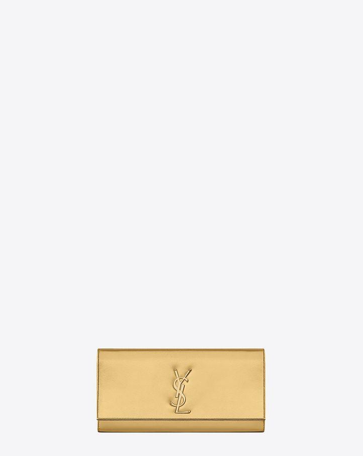 09030a19b31d Saint Laurent Classic Monogramme Saint Laurent Clutch In Gold Metallic  Leather