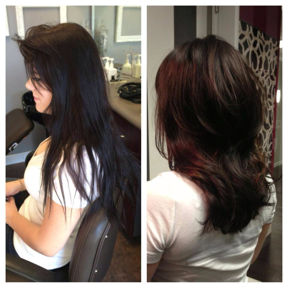 Gorgeous Hair Transformation Color Correction From Box Dye Black To Beautiful Rich Chocolate By Stylist Le Black Hair Dye Dying Hair Tips Hair Transformation