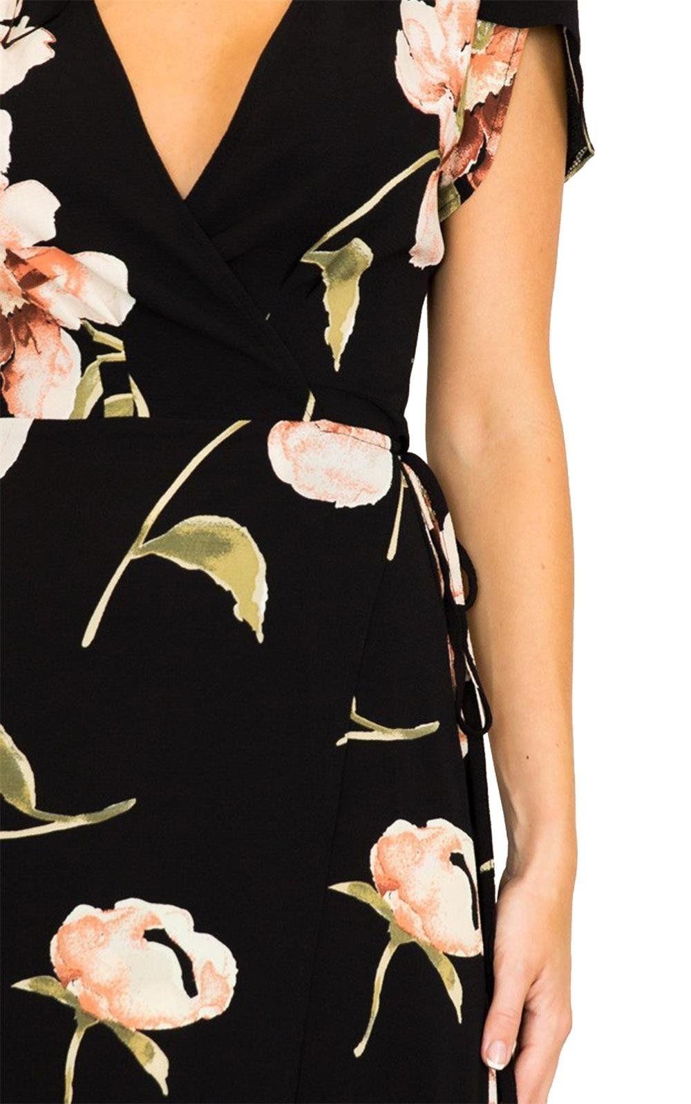 Magicmk womens bohemian deep v neck floral chiffon wrap split maxi