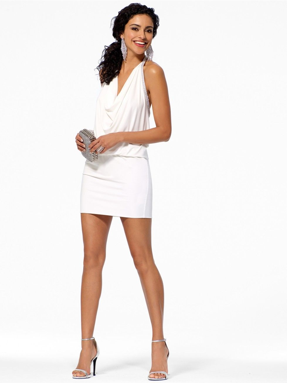 Whilte Drape Neck Blouson Dress - The White Room - Collections - Trends