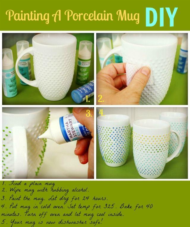 Painting A Porcelain Mug Dishwasher Safe The Glamorous Housewife Diy Mugs Painted Mugs Mugs