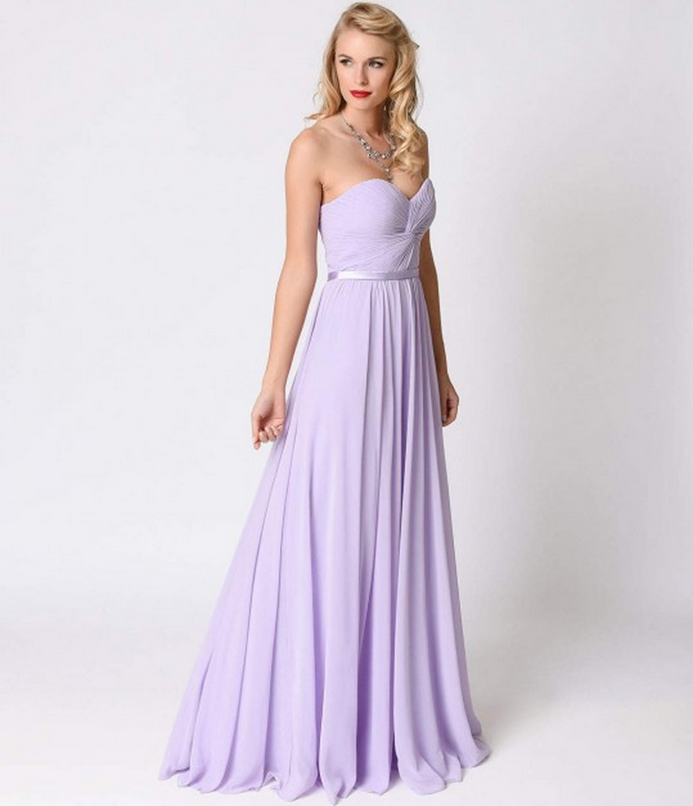 Strapless Lilac Chiffon Strapless Sweetheart Corset Long Gown, $88, Unique Vintage